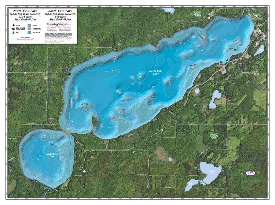 North South Twin Lake Map