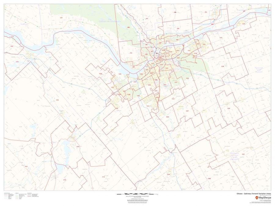 Greater Ottawa Gatineau Postal Code Forward Sortation Areas Map
