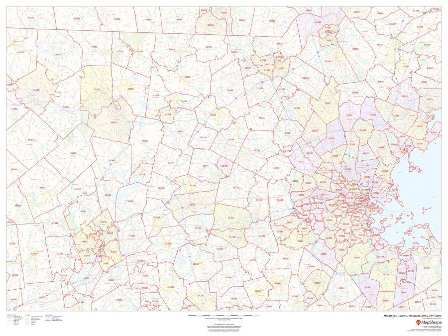 Middlesex County Massachusetts Zip Codes Map