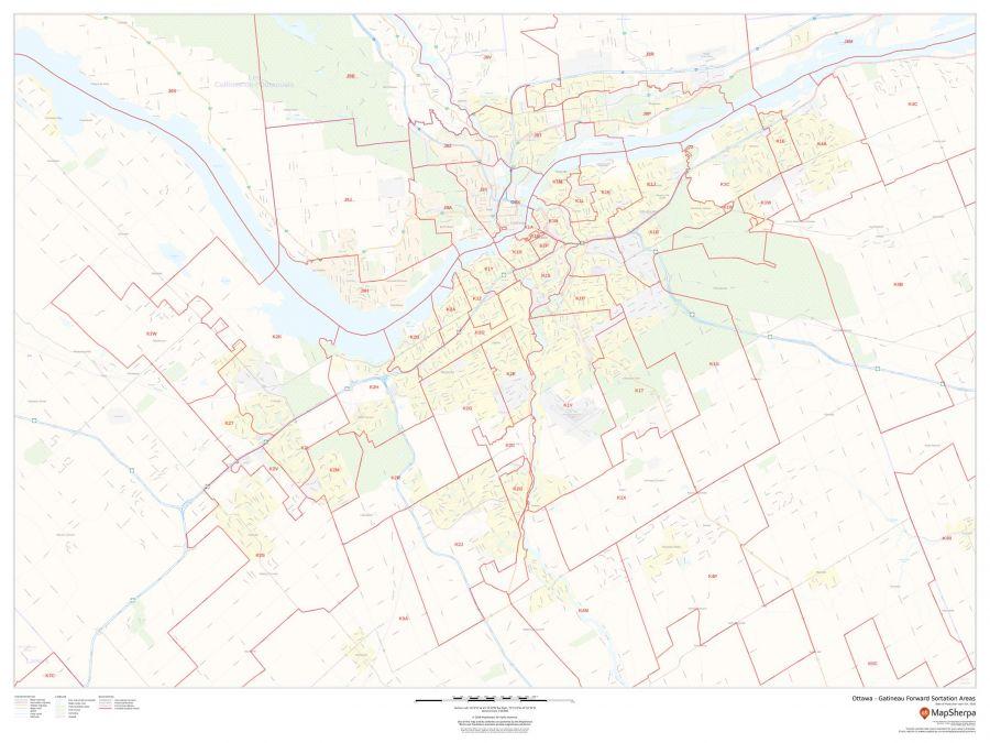 Ottawa Gatineau Postal Code Forward Sortation Areas Map