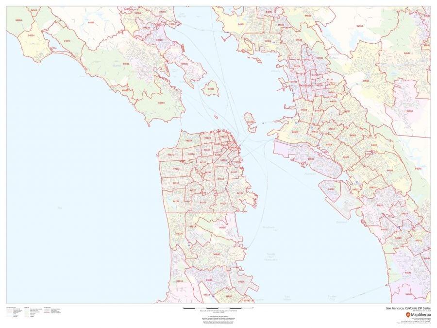 San Francisco California Zip Codes Map