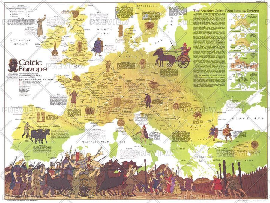 Celtic Europe Published 1977 Map
