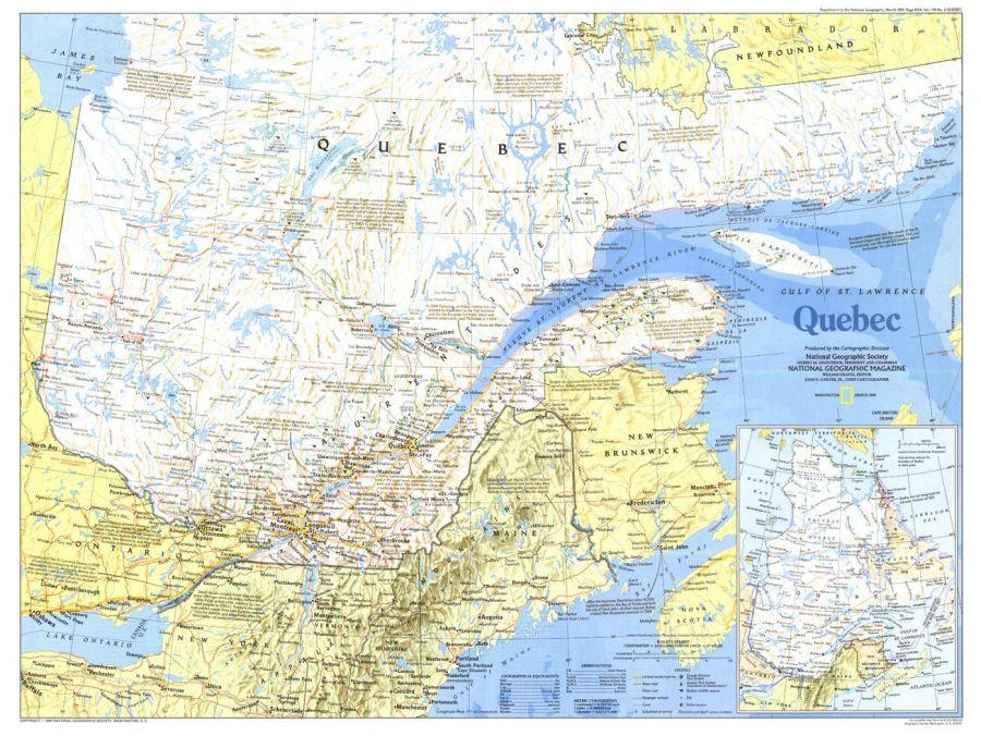 Quebec Published 1991 Map