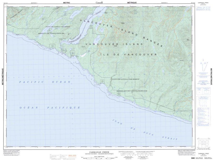 Carmanah Creek - 92 C/10 - British Columbia Map