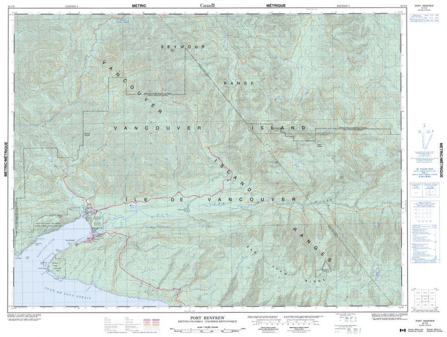 Port Renfrew - 92 C/9 - British Columbia Map