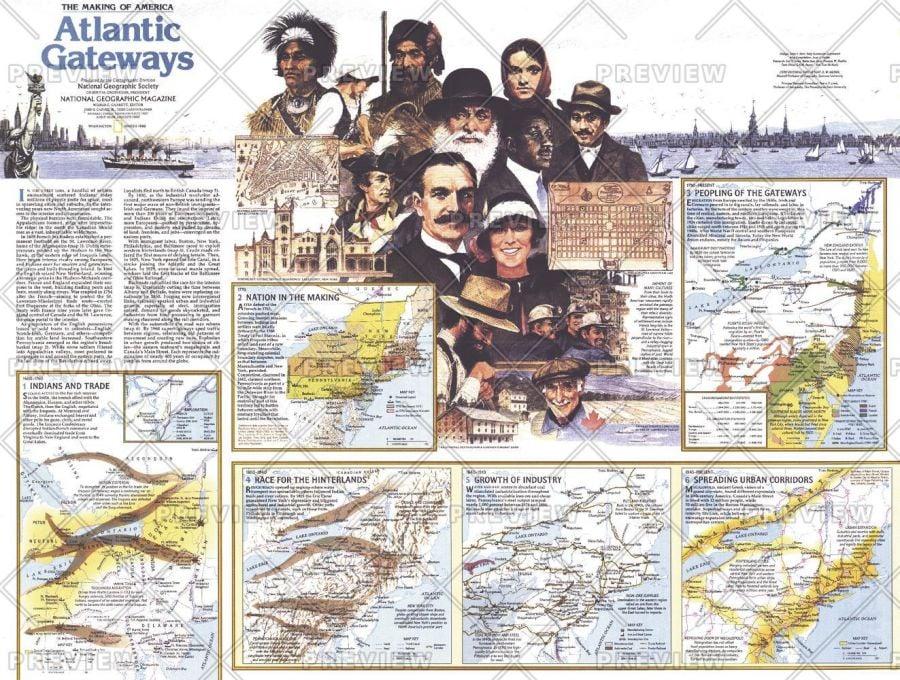 Making Of America Atlantic Gateways Theme Published 1983 Map