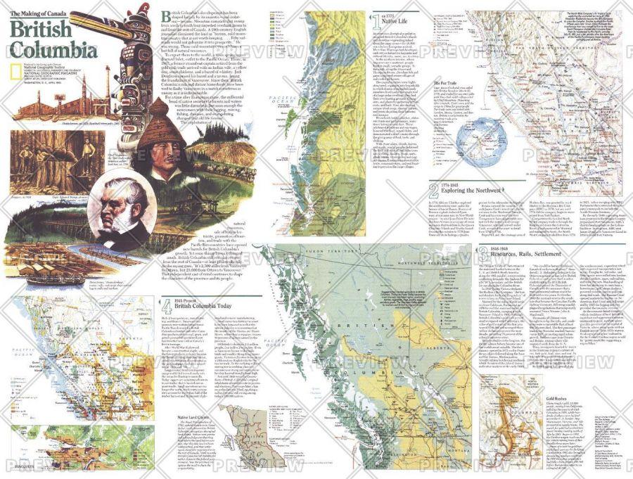 Making Of Canada British Columbia Theme Published 1992 Map