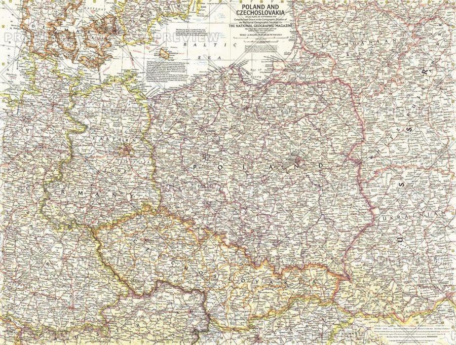 Poland And Czechoslovakia Published 1958 Map