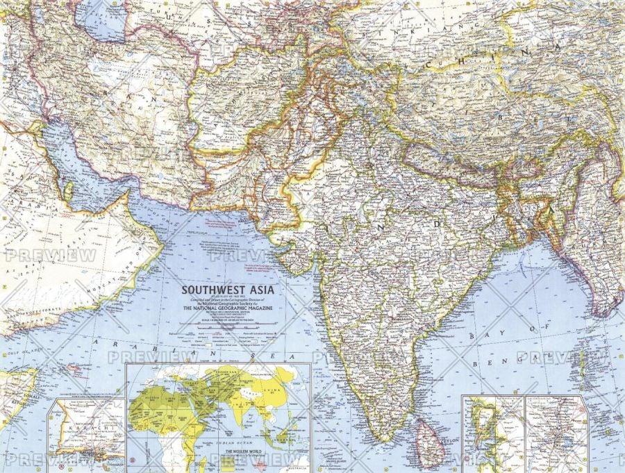 Southwest Asia Published 1963 Map