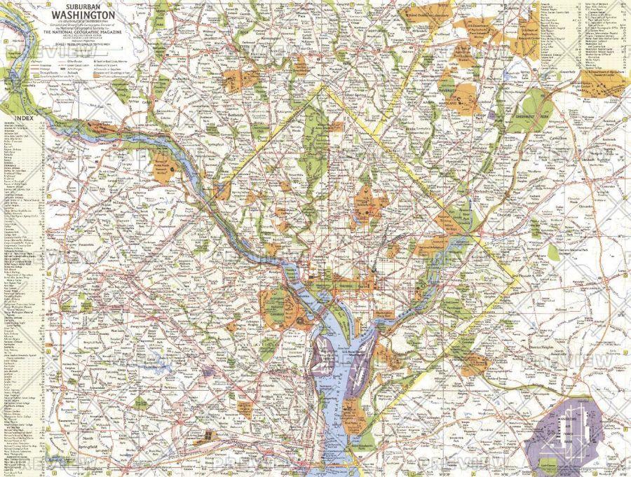 Suburban Washington Published 1964 Map