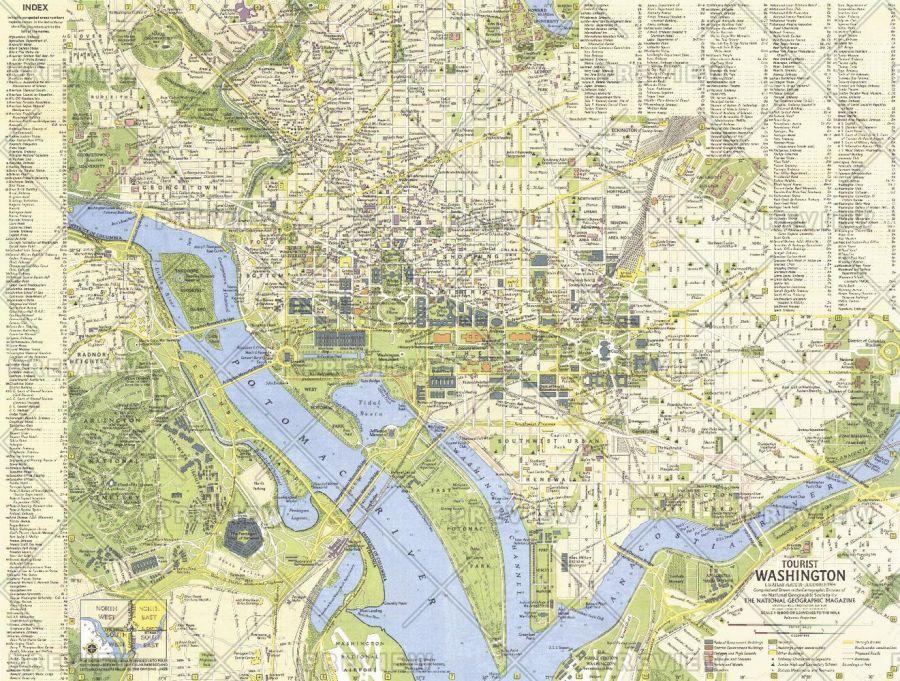 Tourist Washington Published 1964 Map