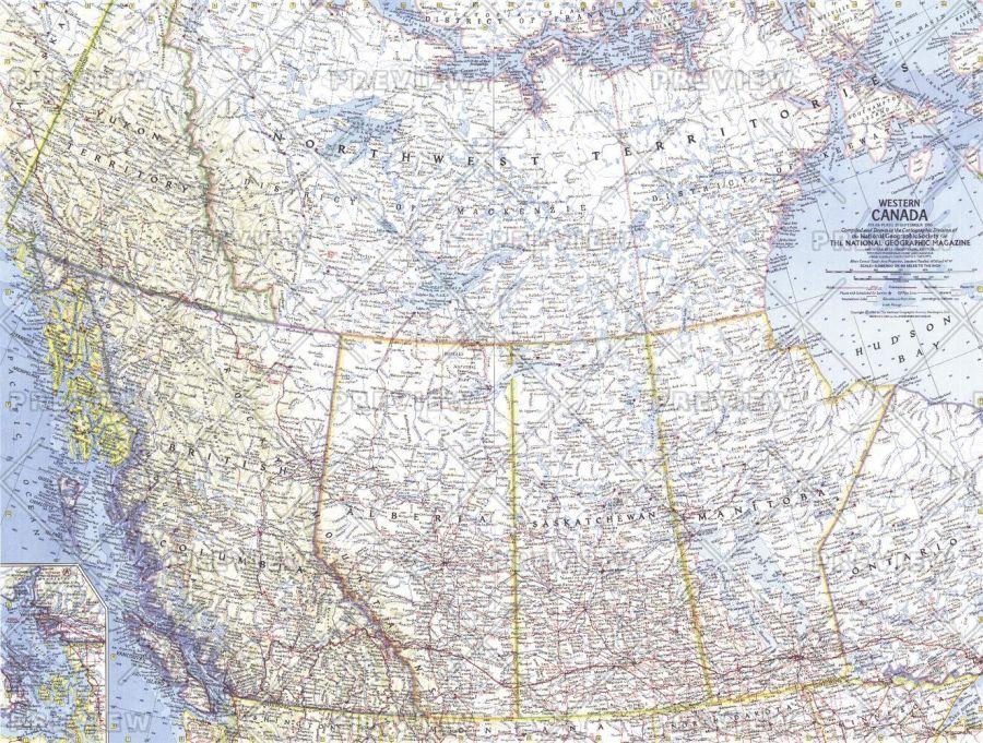 Western Canada Published 1966 Map