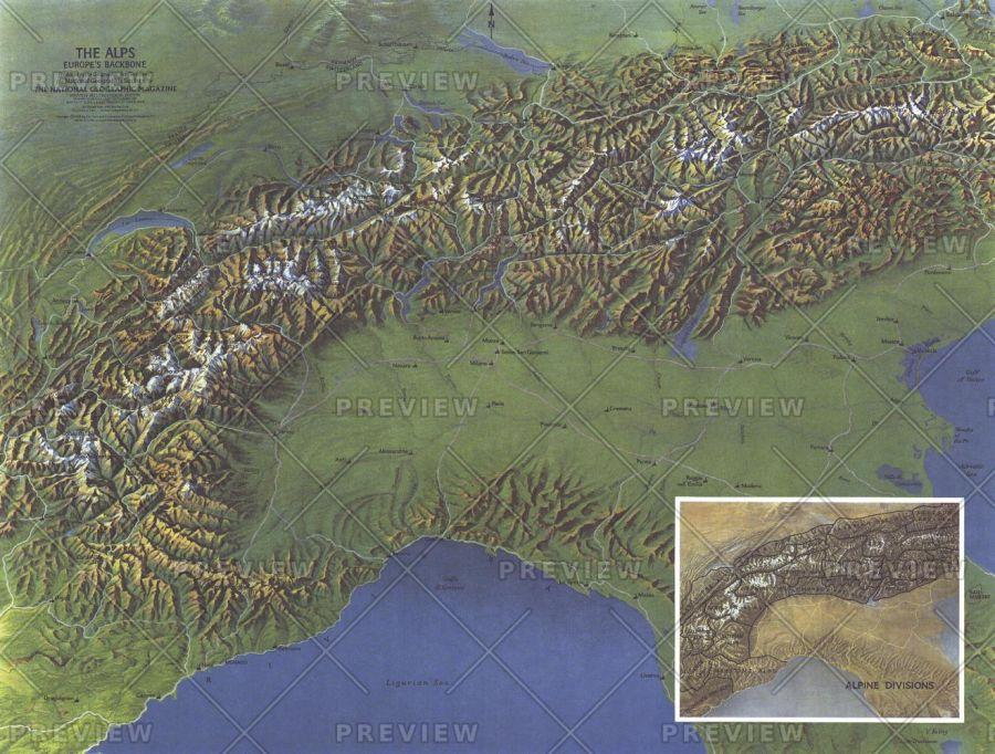Alps Europes Backbone Published 1965 Map