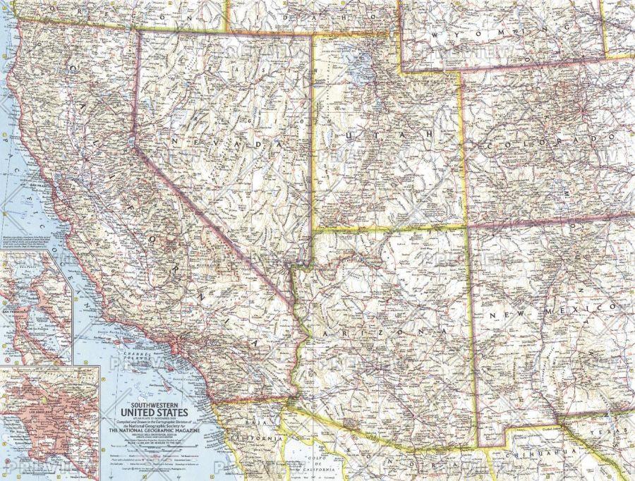 Southwestern United States Published 1959 Map