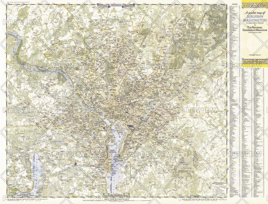 Suburban Washington Dc Maryland Virginia Published 1948 Map