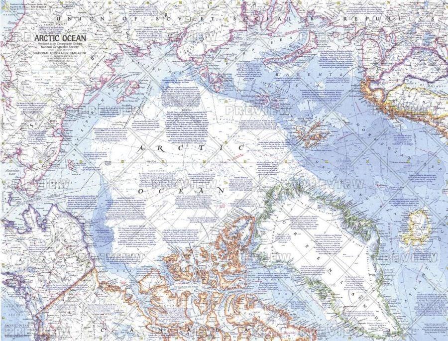 Arctic Ocean Published 1971 Map