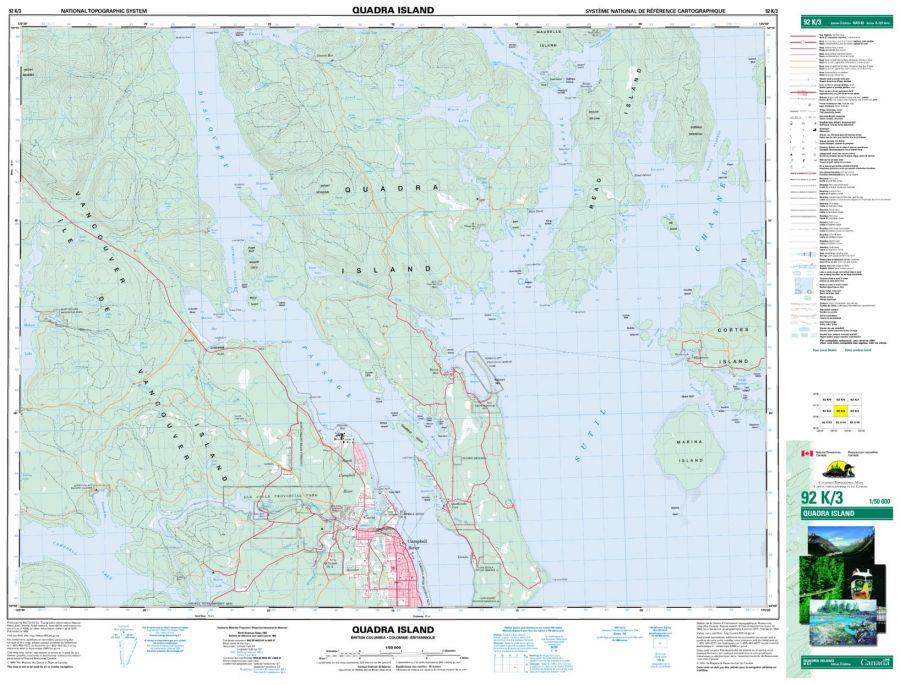 Quadra Island - 92 K/3 - British Columbia Map