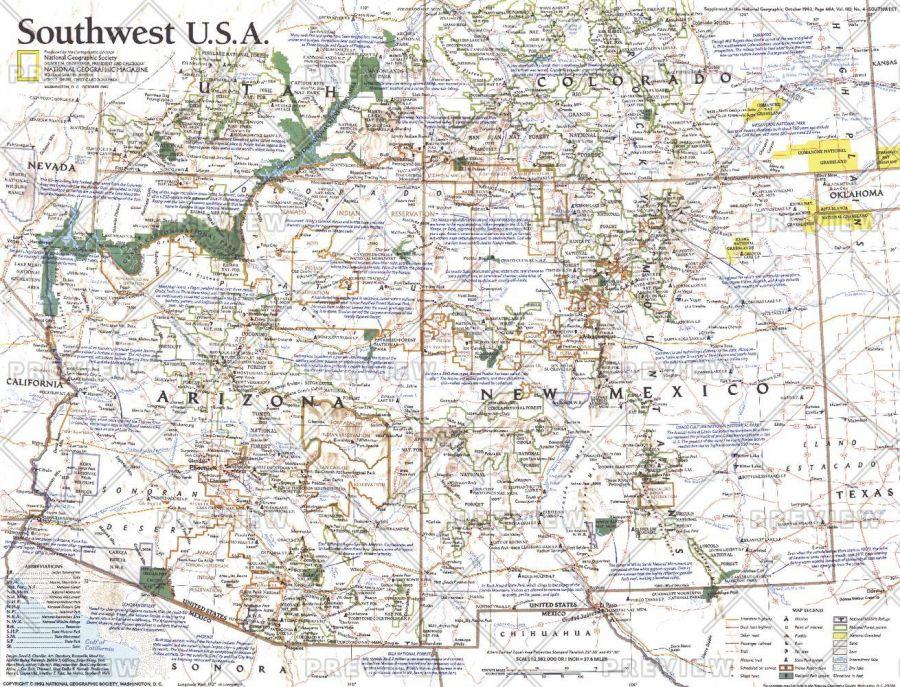 Southwest Usa Published 1992 Map