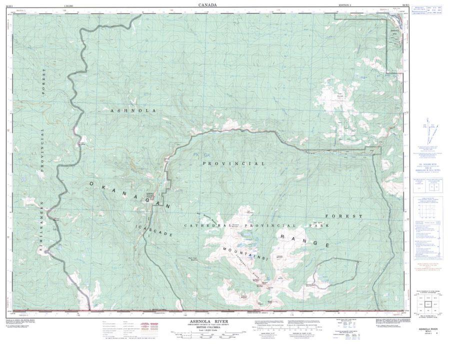 Ashnola River - 92 H/1 - British Columbia Map