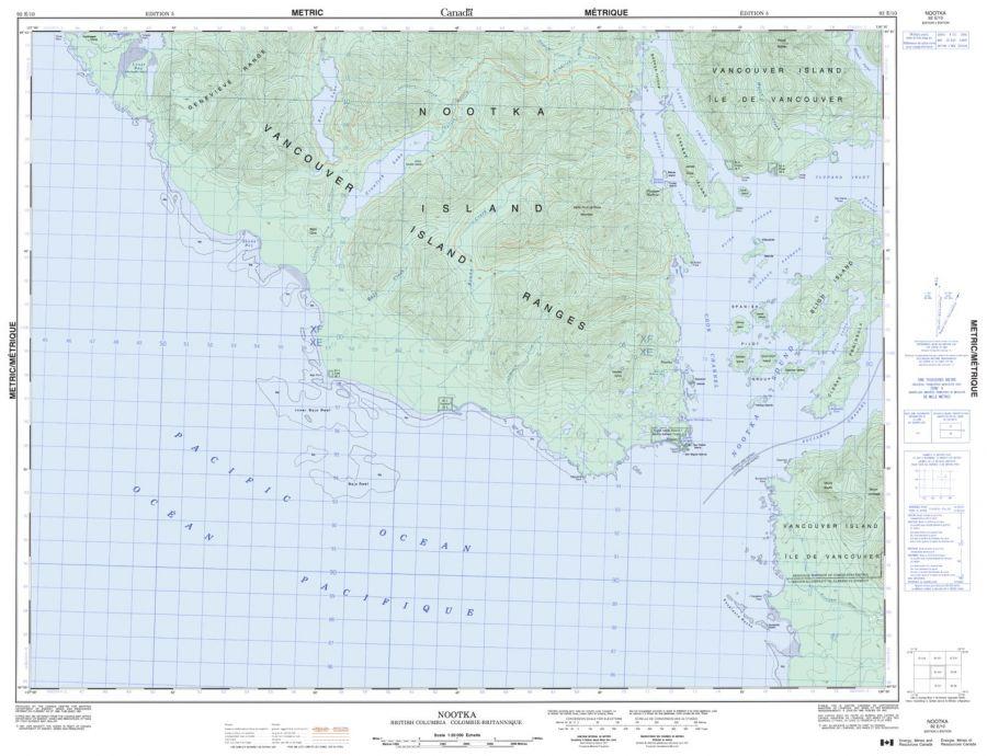 Nootka - 92 E/10 - British Columbia Map