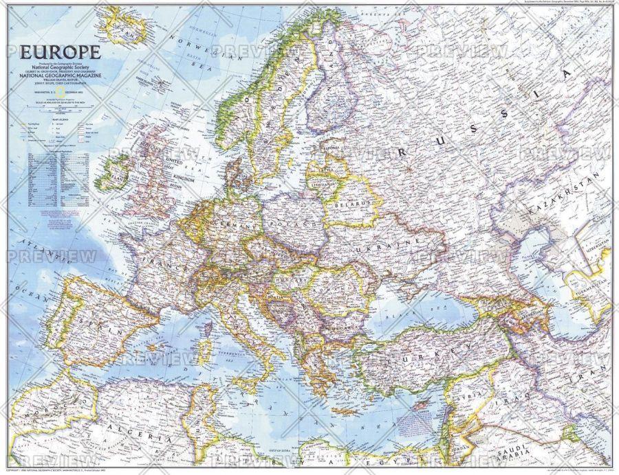 Europe Published 1992 Map