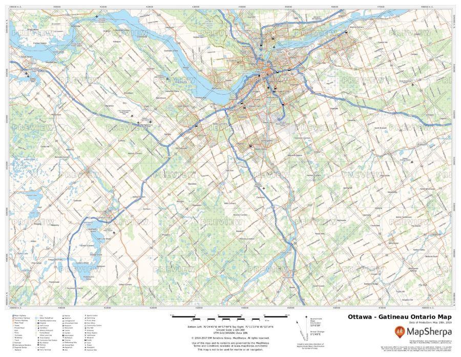 Ottawa - Gatineau Map Ontario
