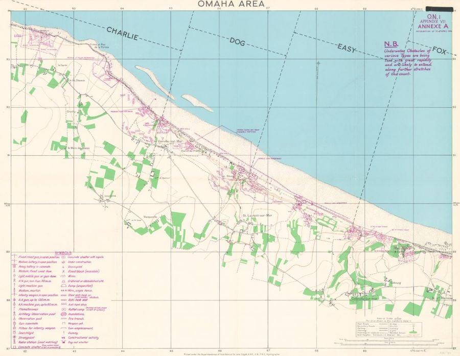 D-Day - Omaha Beach - Normandy - Wall Map