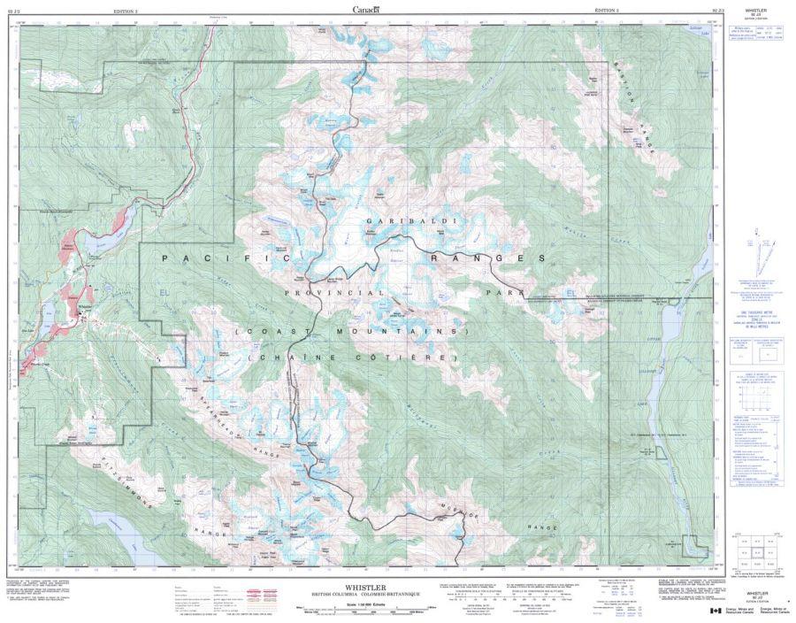 Whistler - 92 J/2 - British Columbia Map