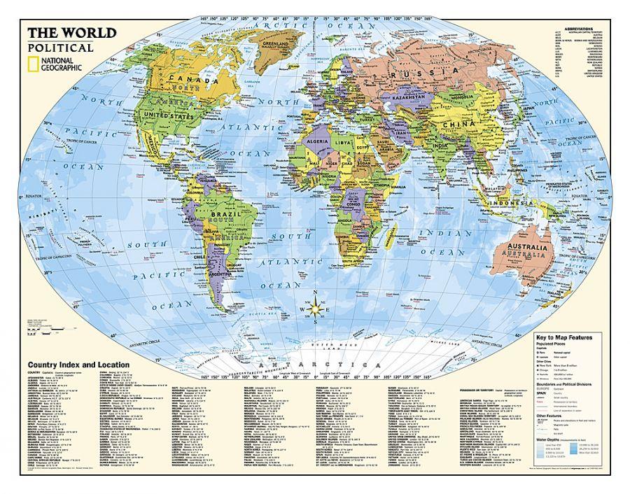 Kids Political World Education Grades 4 12 Map