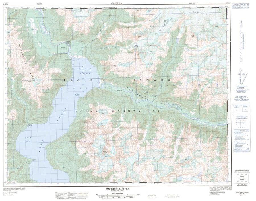 Southgate River - 92 K/15 - British Columbia Map