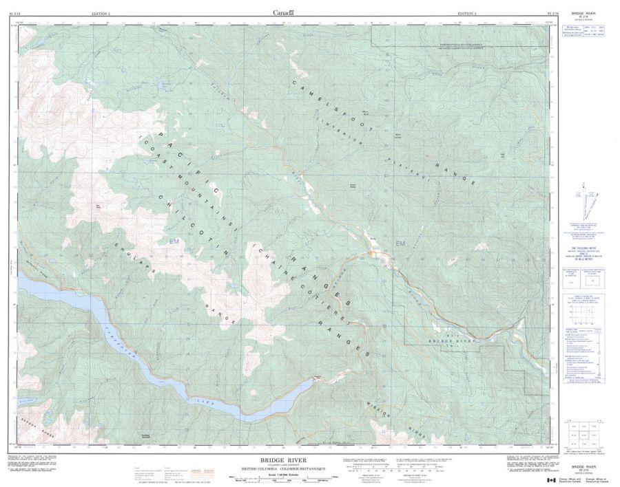Bridge River - 92 J/16 - British Columbia Map