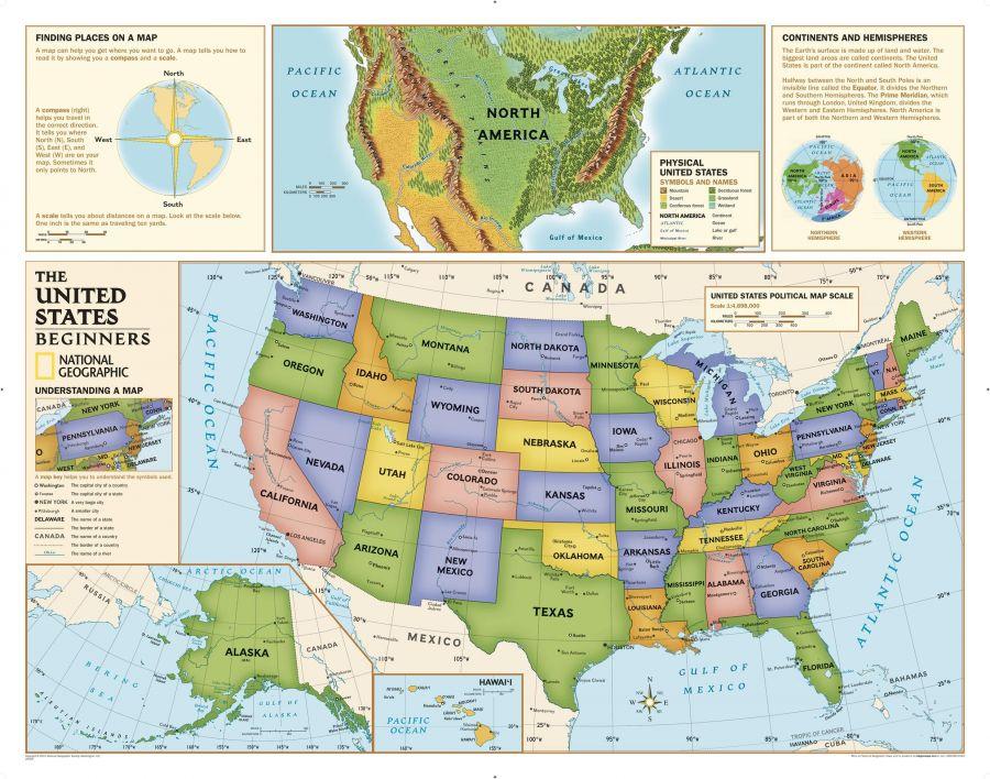 Kids Beginners Usa Education Grades K 3 Map