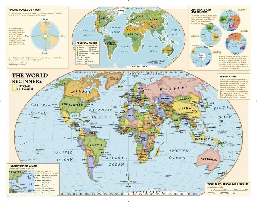 Kids Beginners World Education Grades K 3 Map