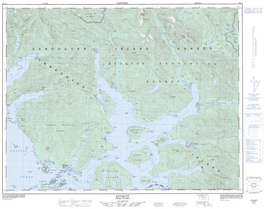 Kyuquot - 92 L/3 - British Columbia Map