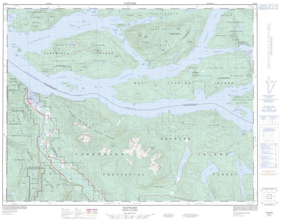Sayward - 92 K/5 - British Columbia Map