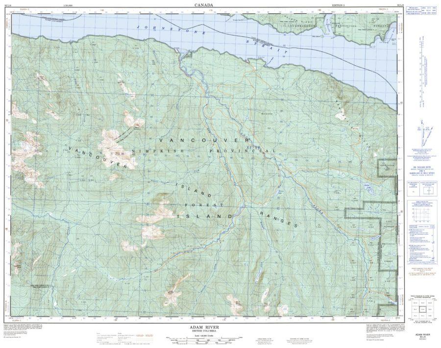 Adam River - 92 L/8 - British Columbia Map