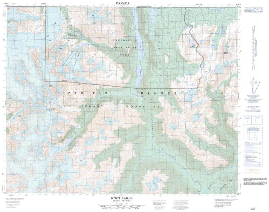 Knot Lakes - 92 N/13 - British Columbia Map