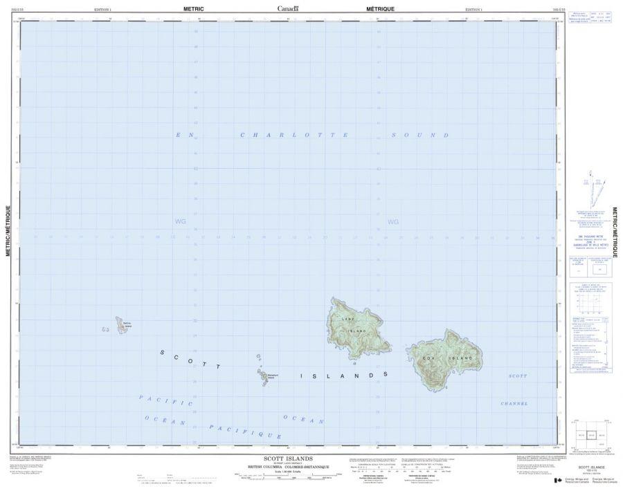 Scott Island - 102 I/15 - British Columbia Map