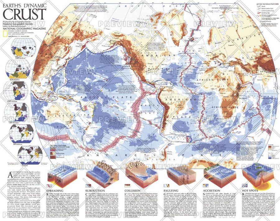 Earths Dynamic Crust Published 1985 Map