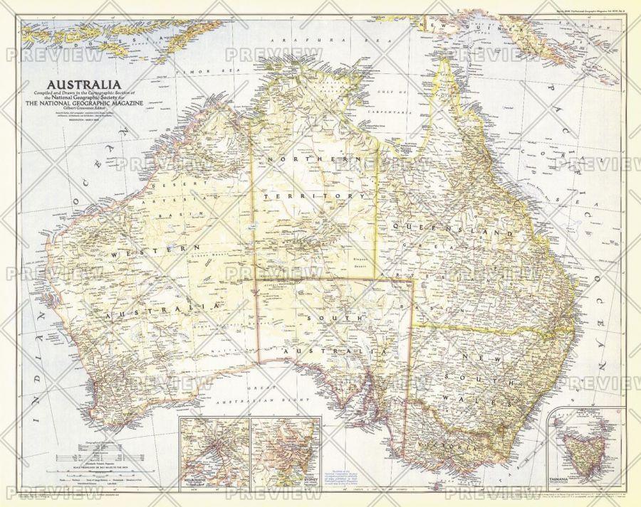 Australia Published 1948 Map
