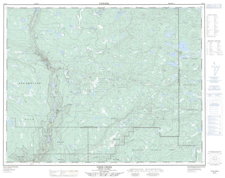 Criss Creek - 92 P/2 - British Columbia Map