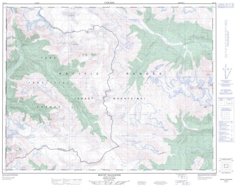 Mount Dalgleish - 92 J/12 - British Columbia Map