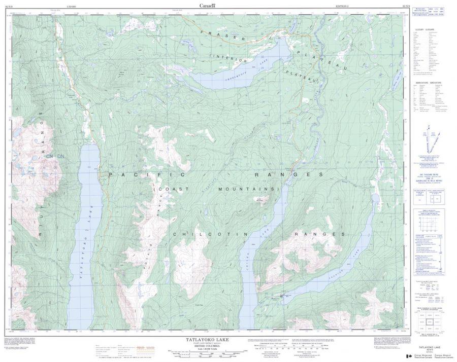 Tatlayoko Lake - 92 N/9 - British Columbia Map