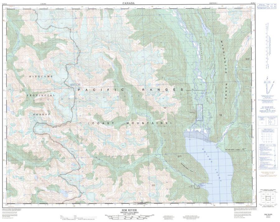Sim River - 92 N/4 - British Columbia Map