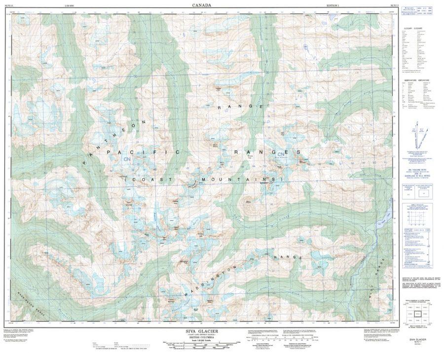 Siva Glacier - 92 N/11 - British Columbia Map