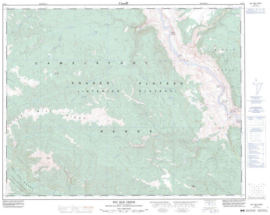 Big Bear Creek - 92 O/1 - British Columbia Map