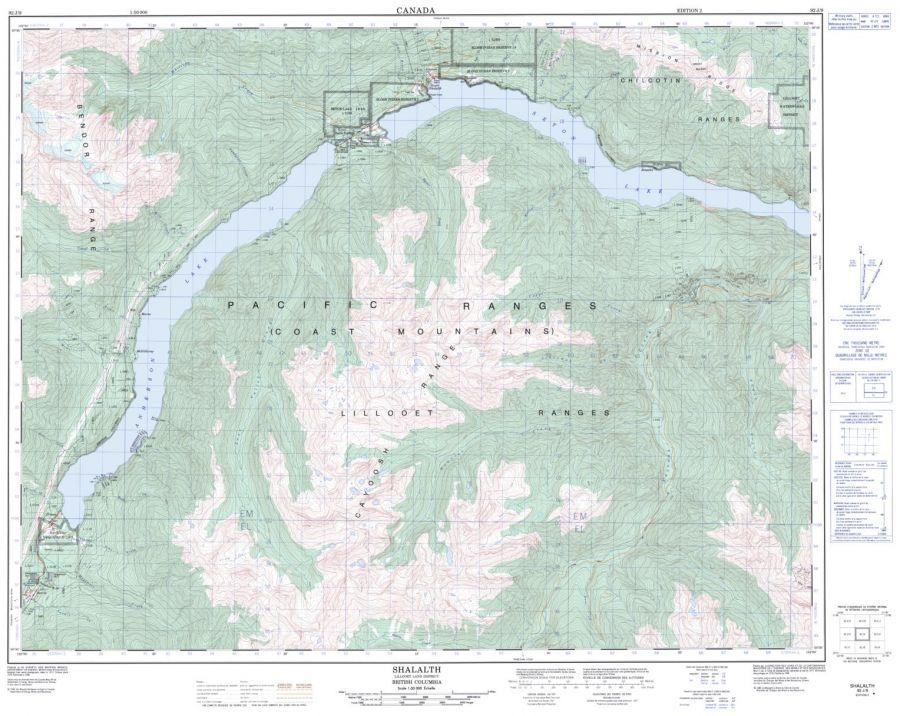 Shalalth - 92 J/9 - British Columbia Map
