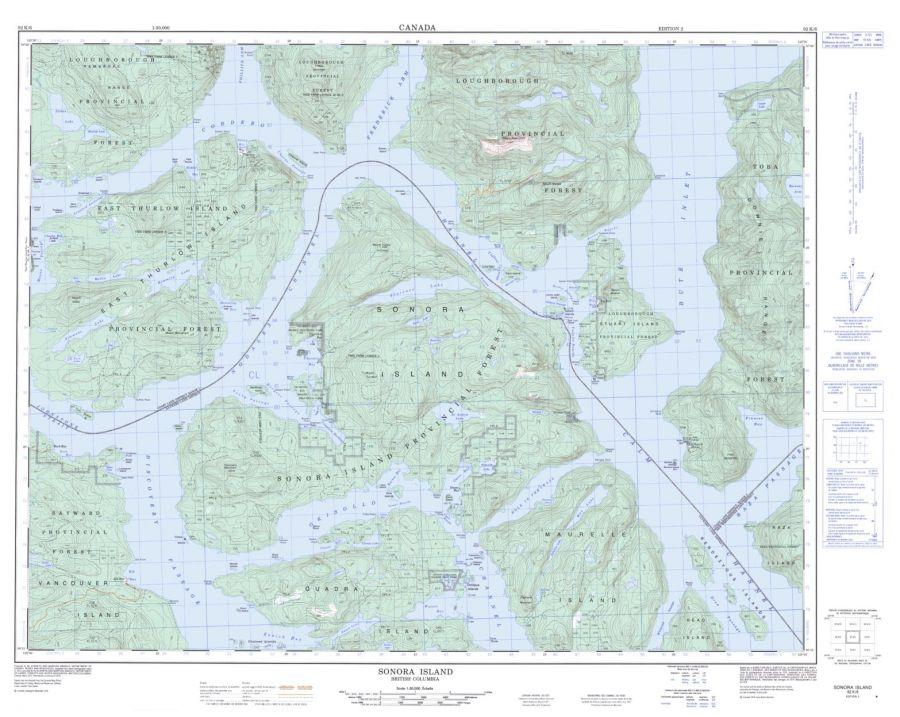 Sonora Island - 92 K/6 - British Columbia Map