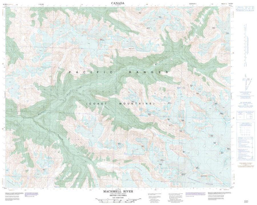 Machmell River - 92 M/9 - British Columbia Map
