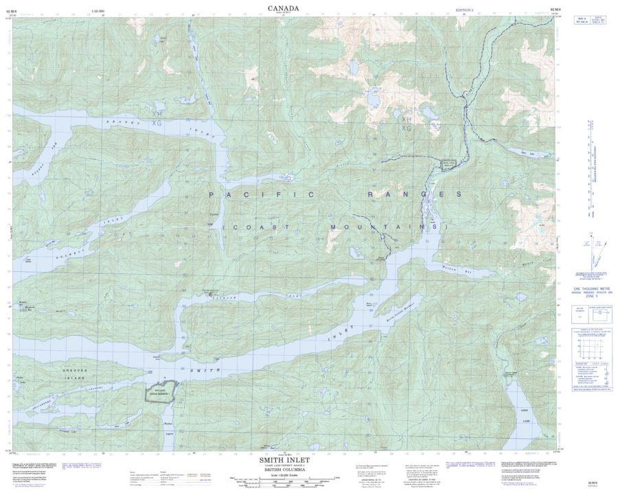 Smith Inlet - 92 M/6 - British Columbia Map